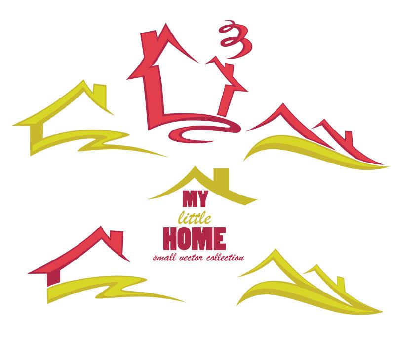 彩色房屋标志矢量设计