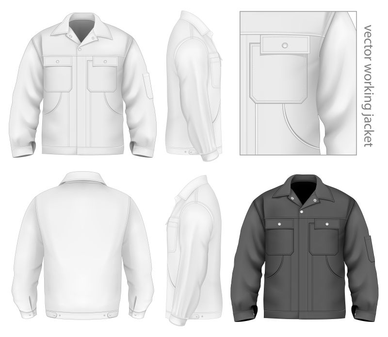 创意矢量男士工作夹克设计