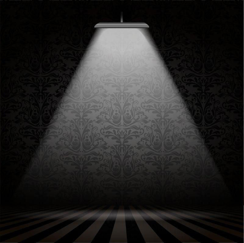 创意矢量灯光照在花纹纹理墙壁设计