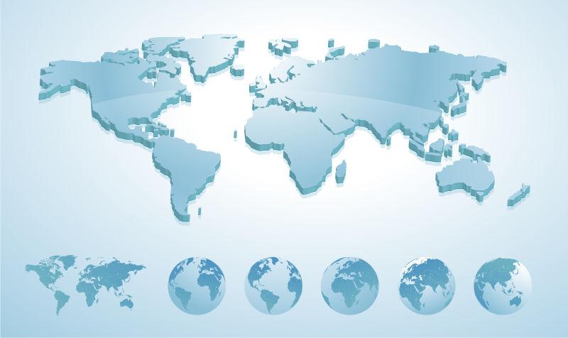 矢量3D地球地图说明地球地球显示所有大陆