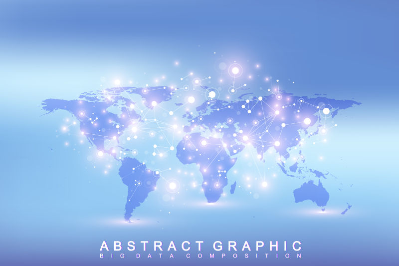 矢量几何图形背景与政治世界地图交流