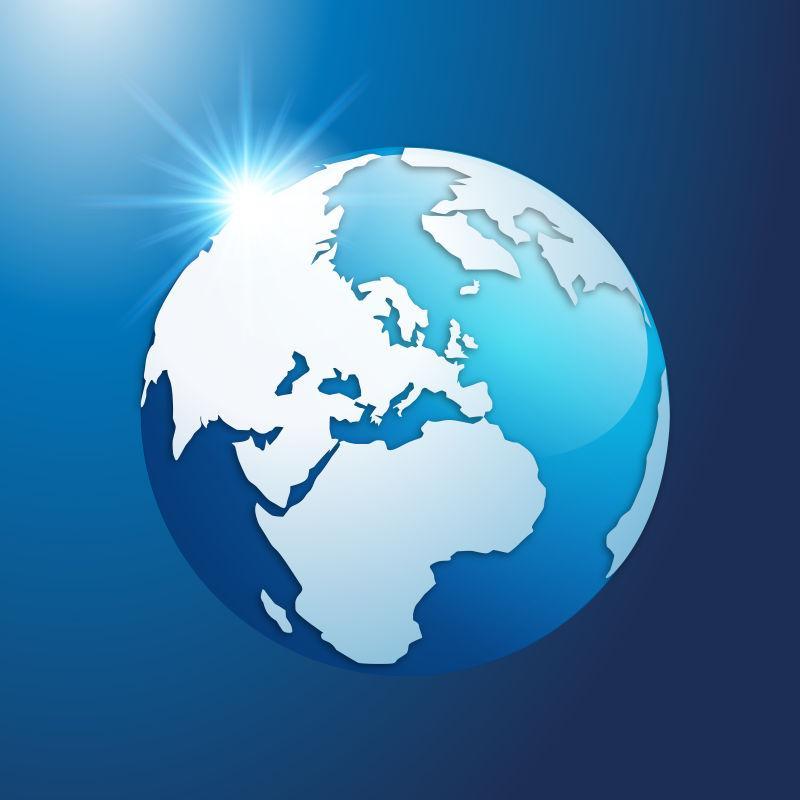 矢量地球是蓝色的
