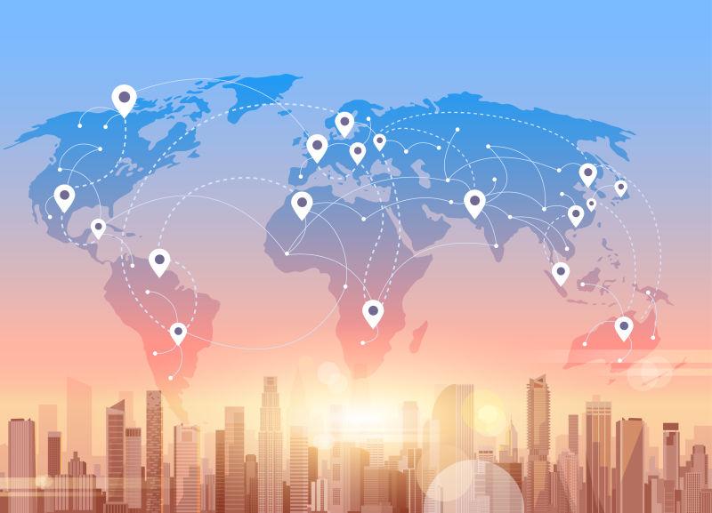 社会媒体传播互联网网络连接城市摩天楼世界地图背景矢量插图