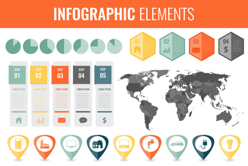 矢量世界地图信息图形元素