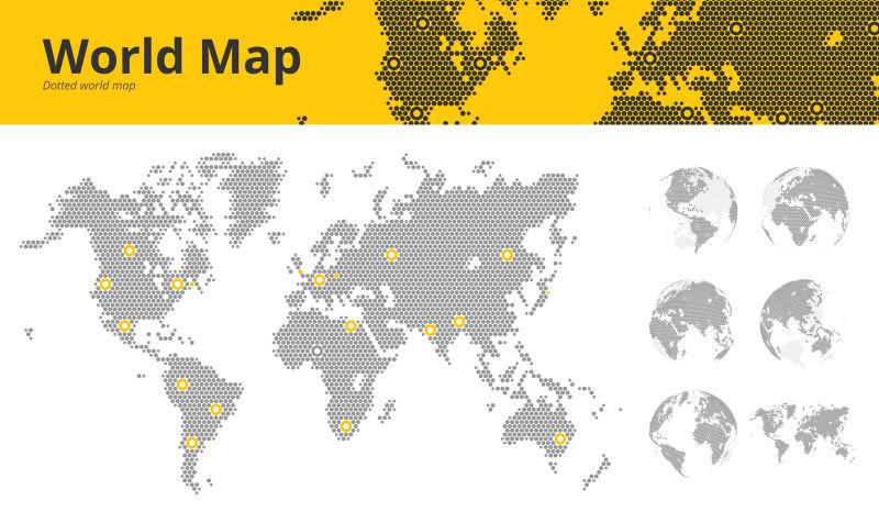 矢量有明显的经济中心和地球球体显示所有大陆