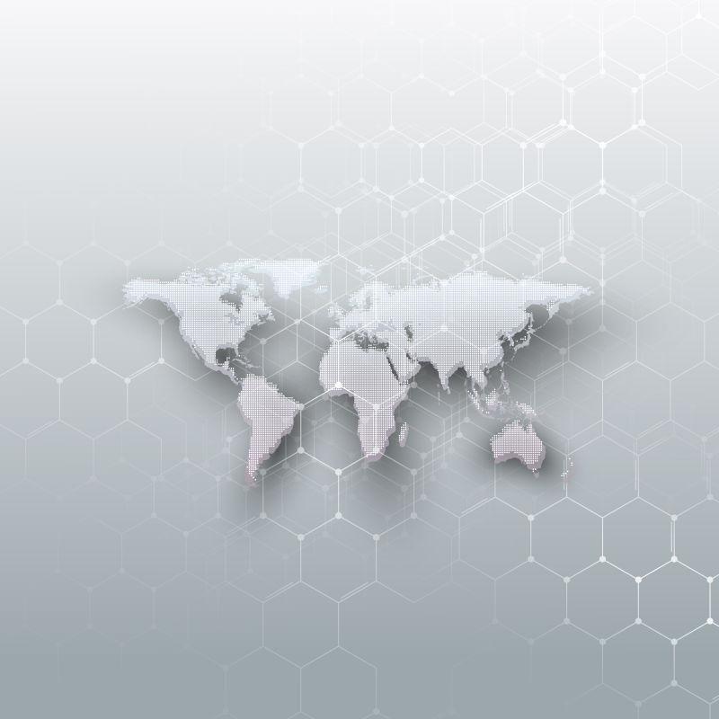 矢量白色点缀的世界地图
