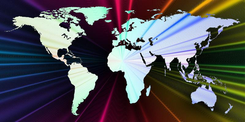矢量丰富多彩的三维背景与世界地图
