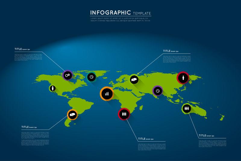 矢量带有抽象垃圾循环指针的世界地图
