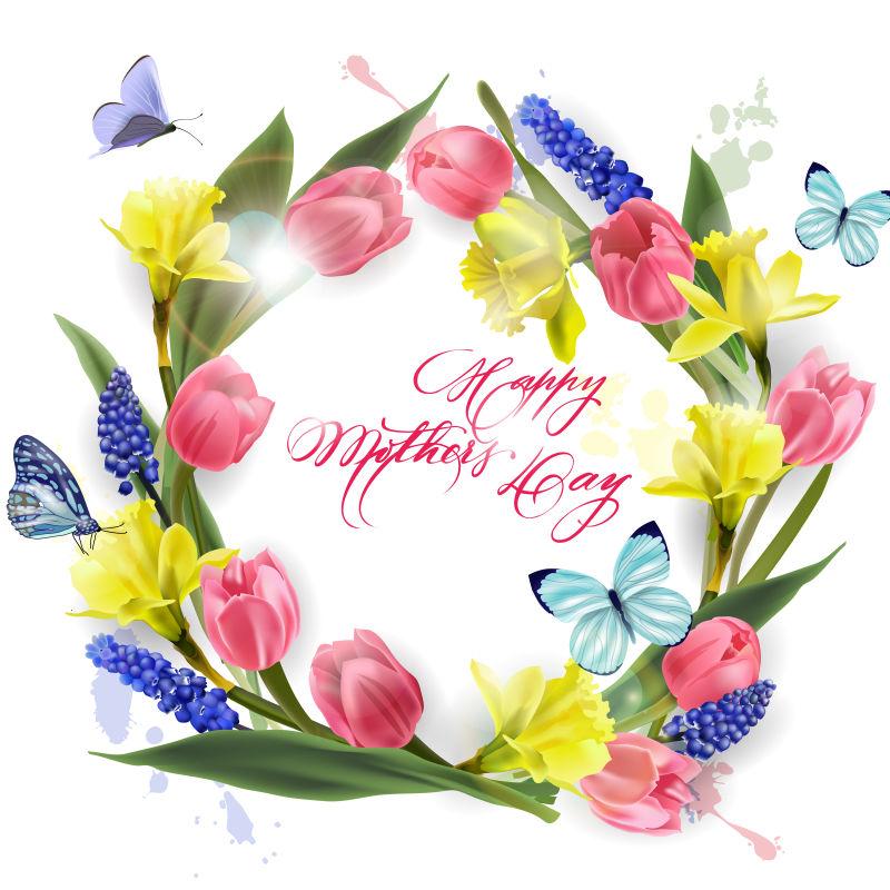 抽象矢量庆祝母亲节的花卉背景