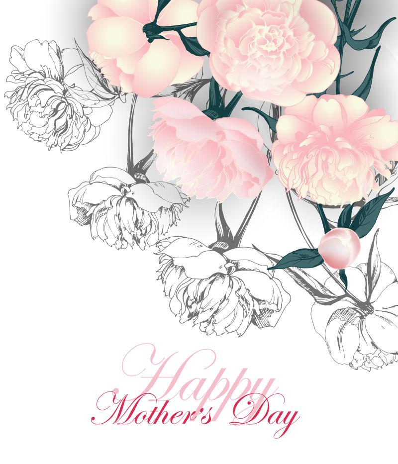矢量花卉元素的母亲节背景