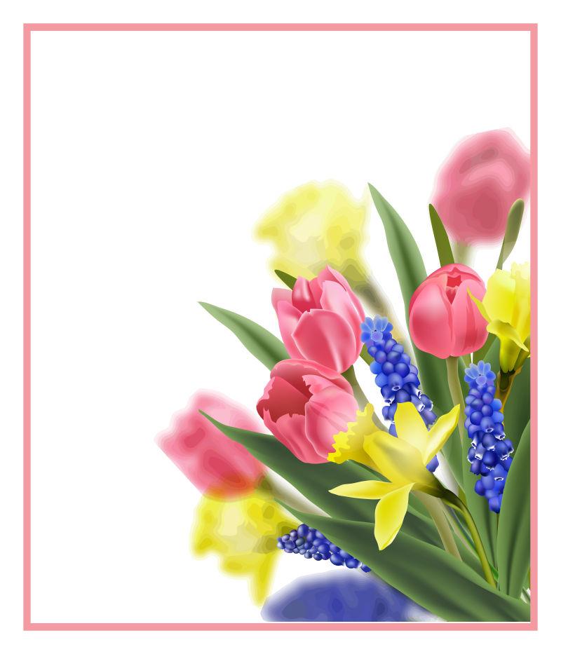 抽象矢量春季盛开的花卉背景