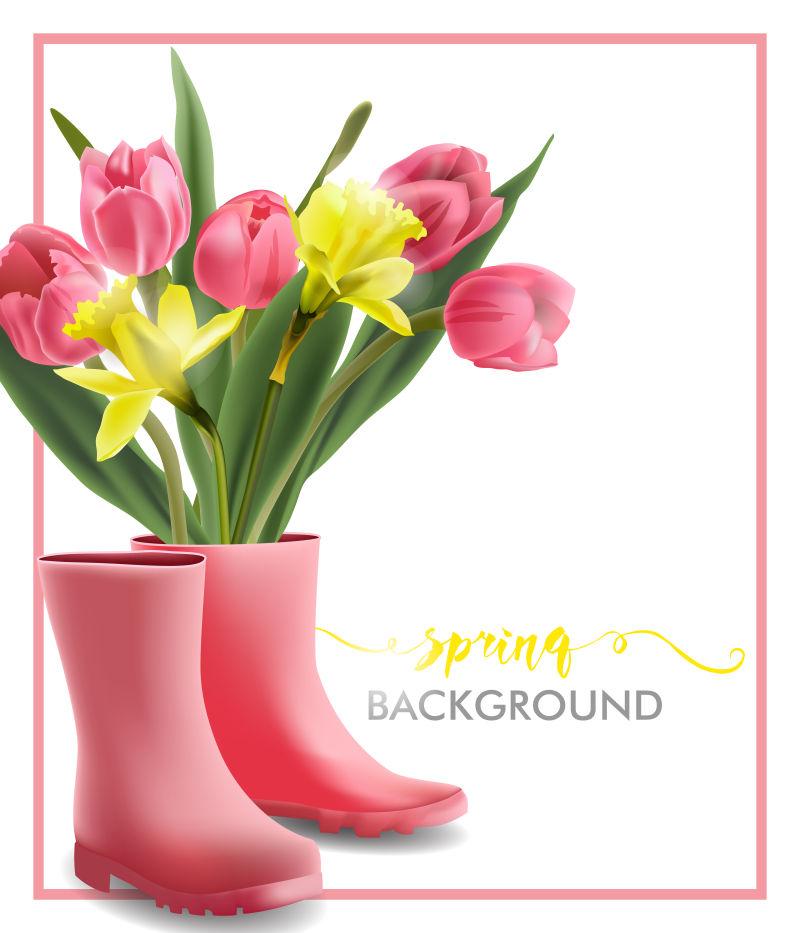 抽象矢量春季主题的花卉背景