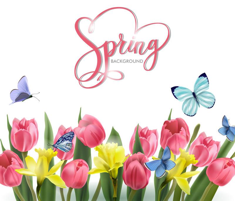 抽象矢量春天盛开的花卉背景