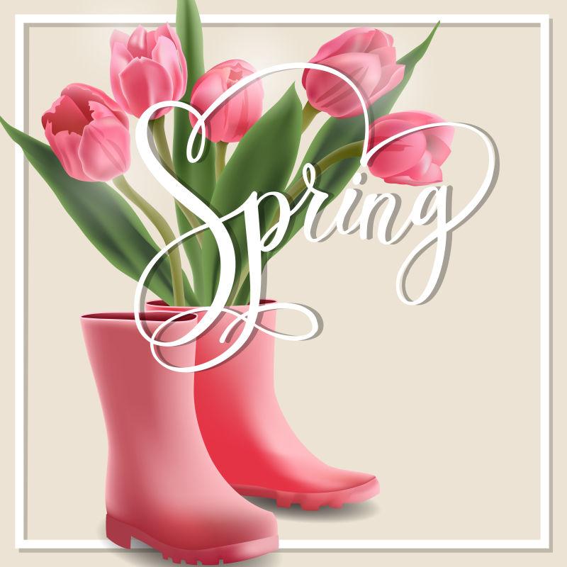 春季主题的矢量花卉元素背景