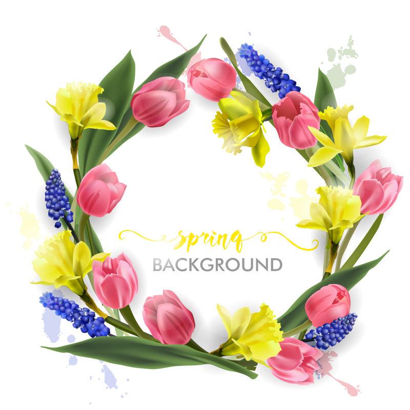 抽象矢量美丽花卉元素的春季背景设计