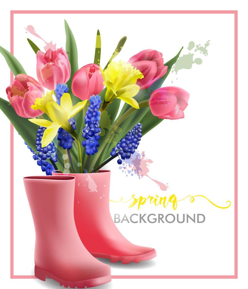 矢量抽象花卉元素的春季背景