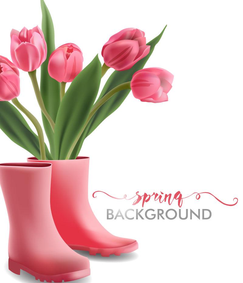 抽象矢量花卉元素的春季背景