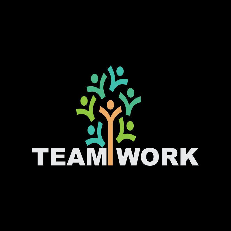 抽象矢量团队合作主题的创意标志设计