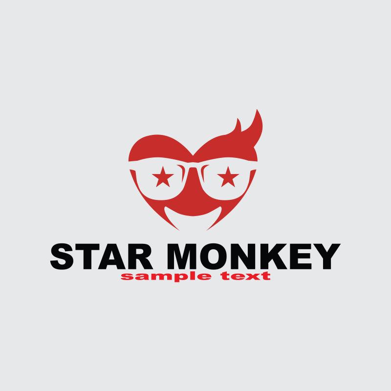 抽象矢量戴星星眼镜的猴子标志设计