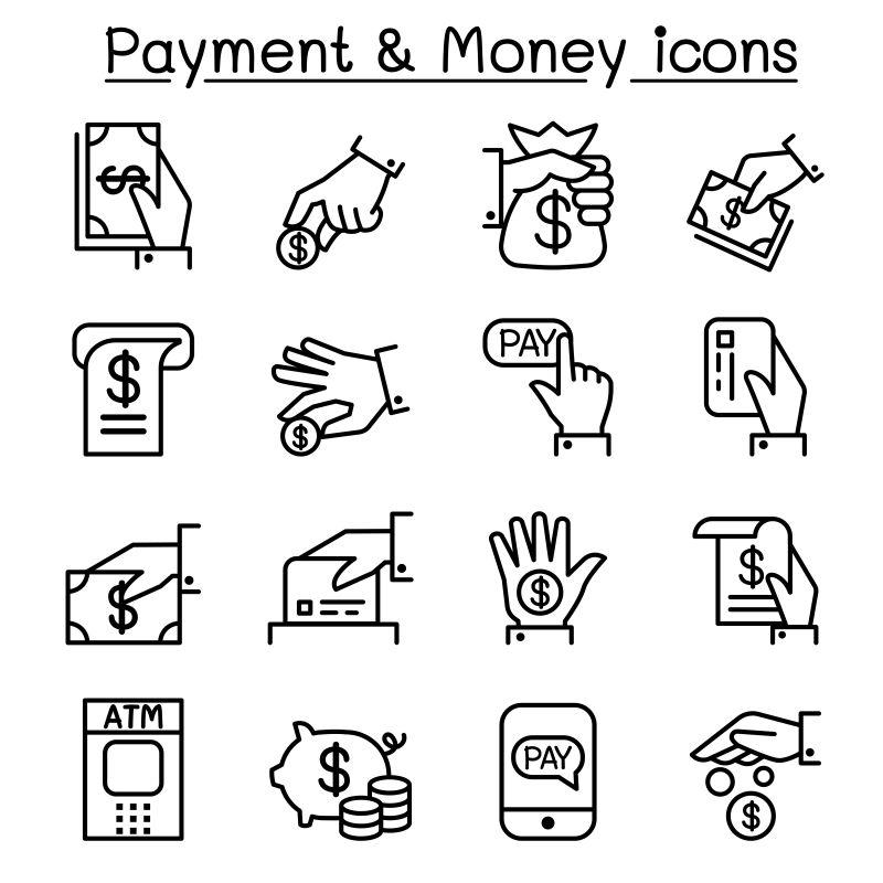 创意矢量细线风格的支付图标设计