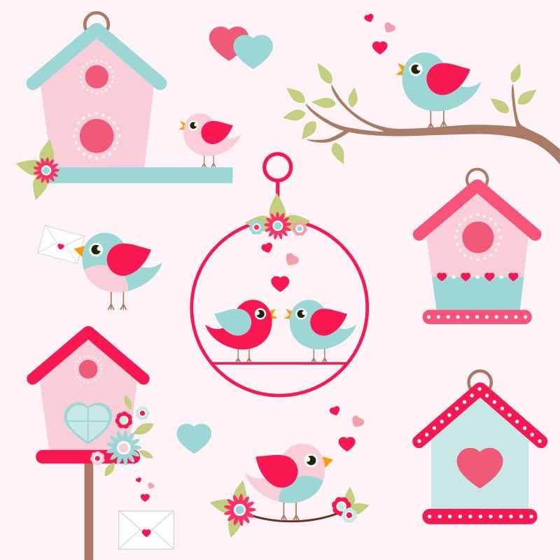 矢量粉色鸟儿与鸟巢