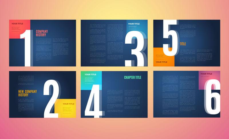创意数字元素的矢量宣传册设计