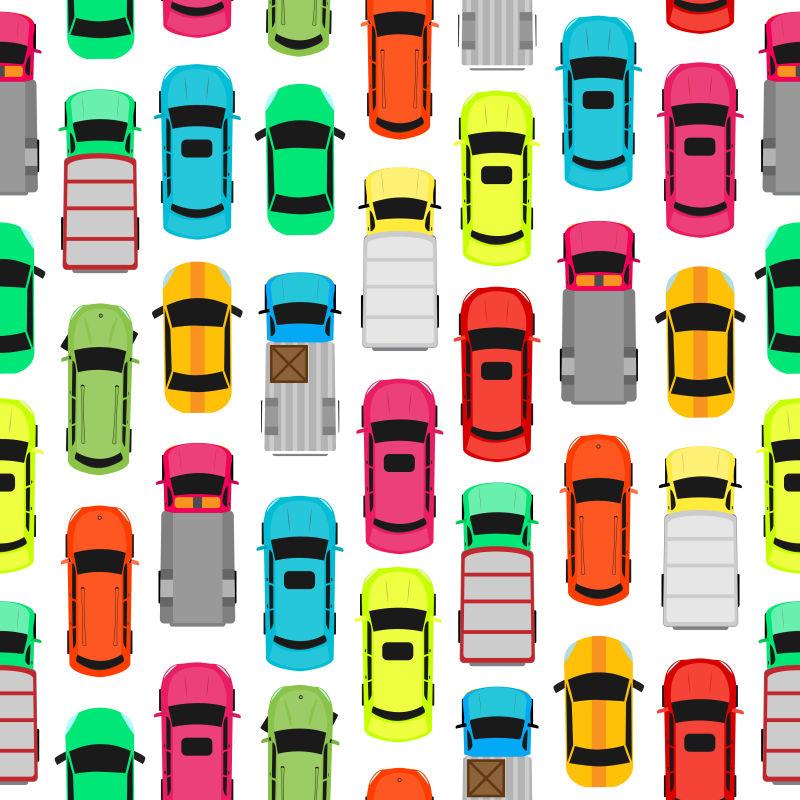 矢量排列整齐的各色汽车