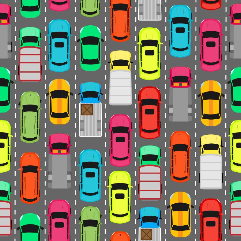 矢量停靠整齐的彩色汽车