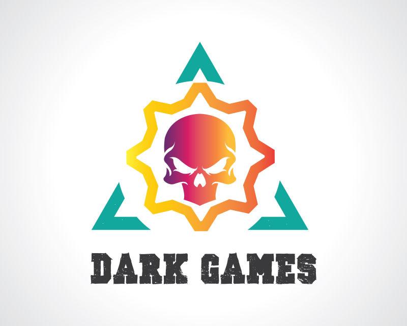 抽象矢量现代彩色游戏标志设计