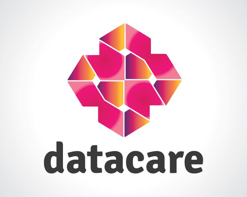 抽象矢量现代彩色几何风格的数据标志设计
