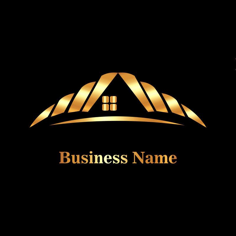 创意矢量金色房屋元素标志设计