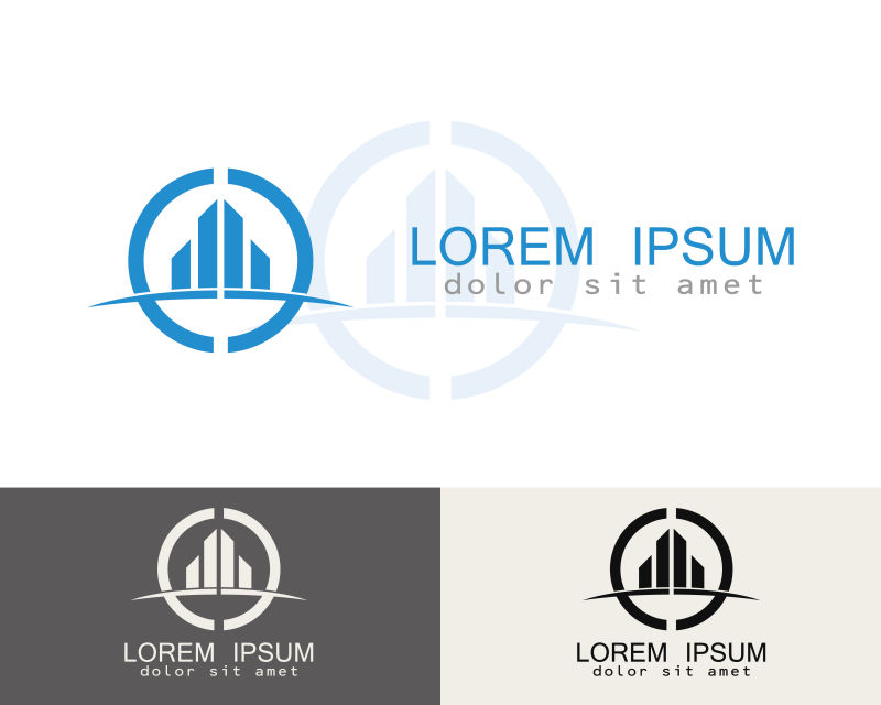 创意矢量现代抽象建筑标志设计
