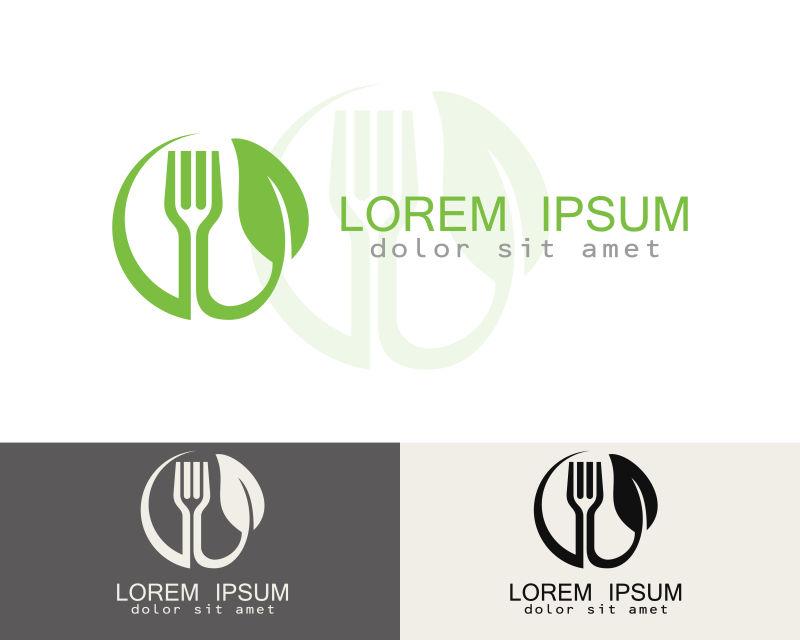 创意矢量绿色食品主题标志设计