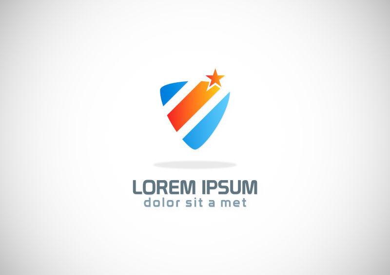 创意矢量彩色抽象盾牌元素标志设计