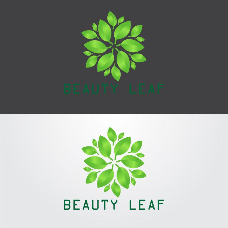 矢量绿叶环绕的标志设计