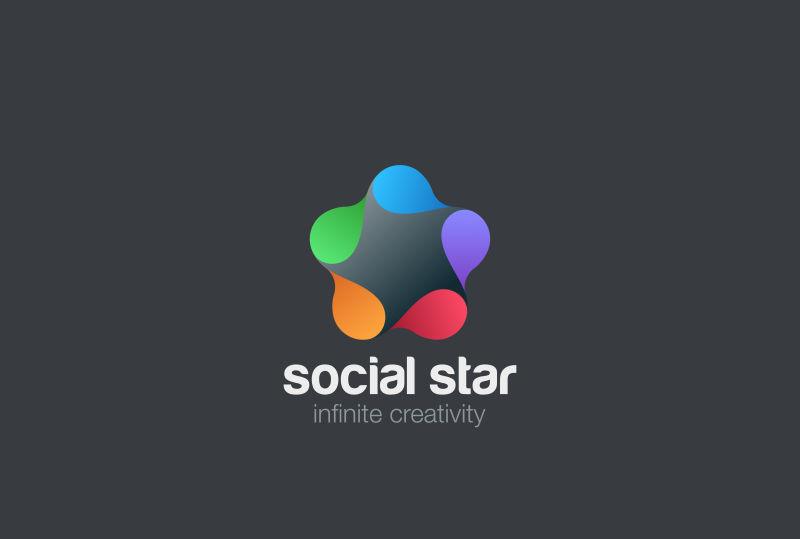 抽象矢量社交主题的星型标志设计