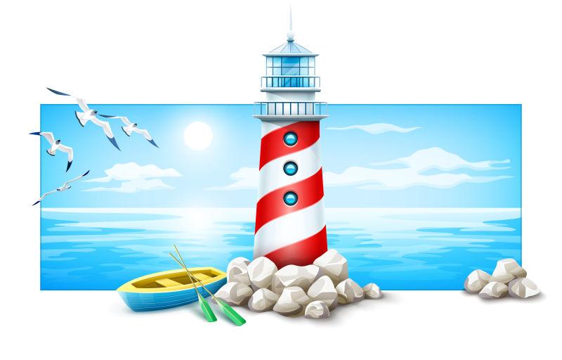 矢量的立体灯塔插图