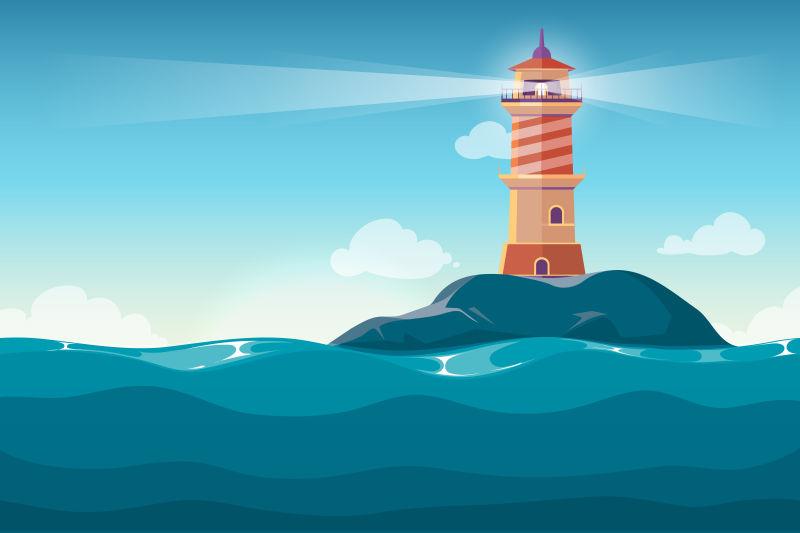 小岛上的灯塔矢量插图