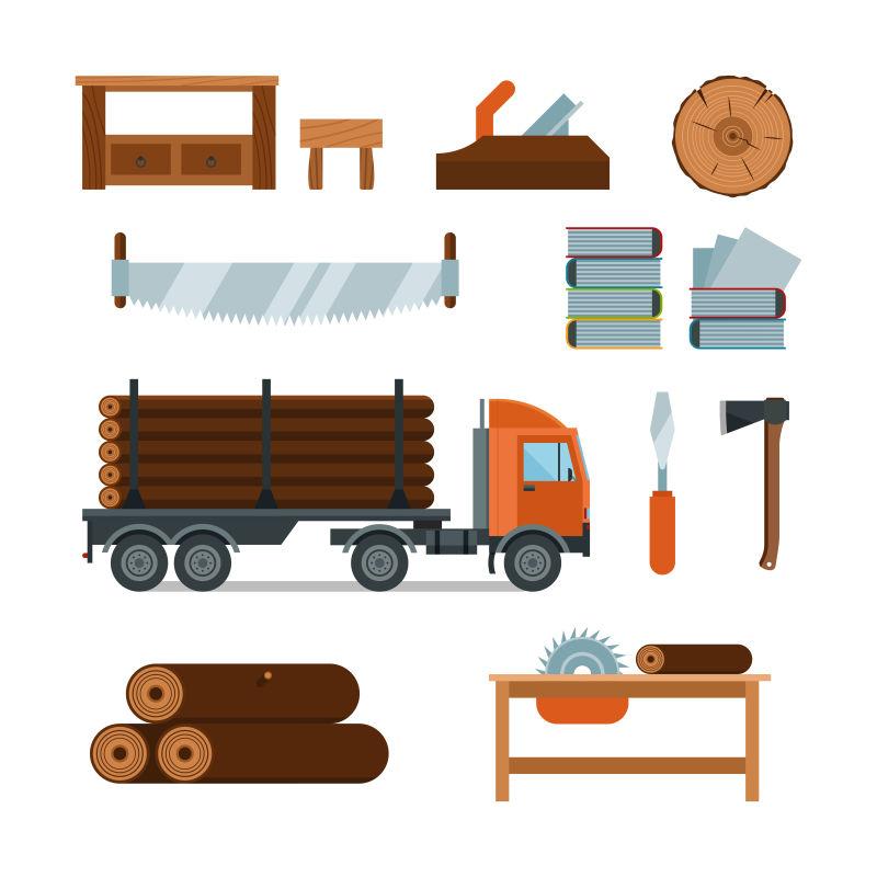 抽象矢量伐木主题的平面插图设计