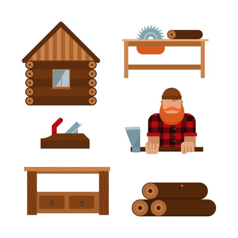 抽象矢量卡通伐木主题的插图设计