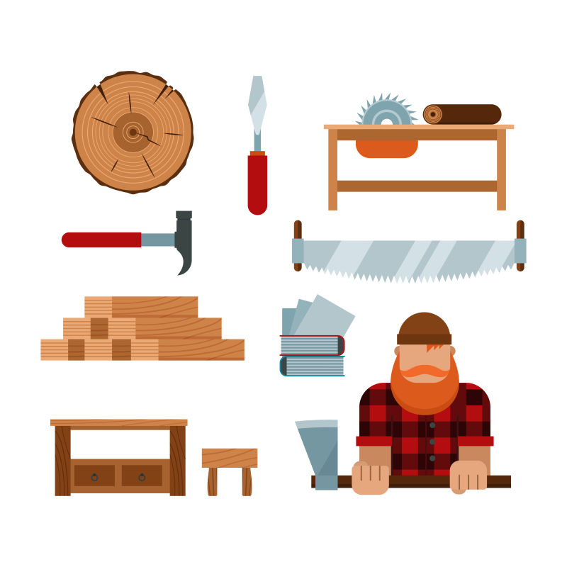 创意矢量伐木工人平面插图设计