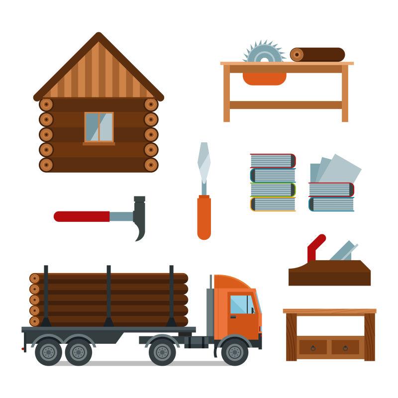 创意矢量伐木主题的平面插图
