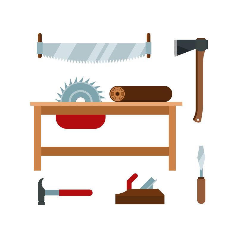 创意矢量伐木工具的设计元素