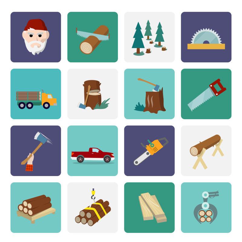 创意矢量现代伐木工人元素插图