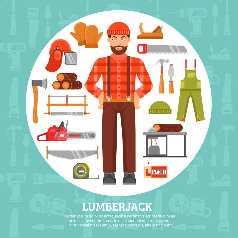 抽象矢量伐木工人和工具插图设计