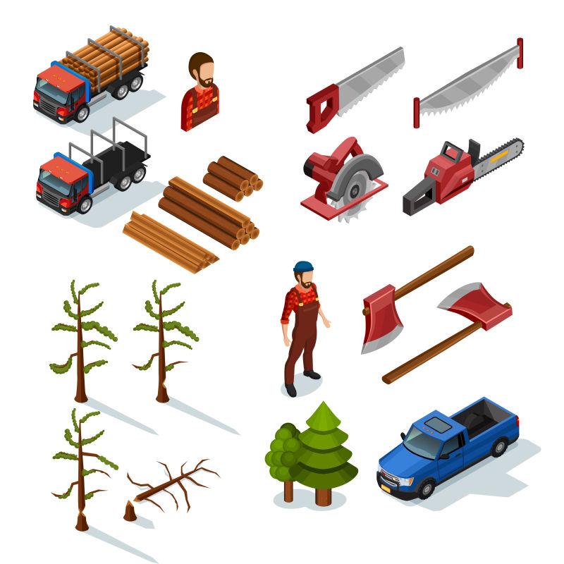 抽象矢量等距风格的伐木设计元素