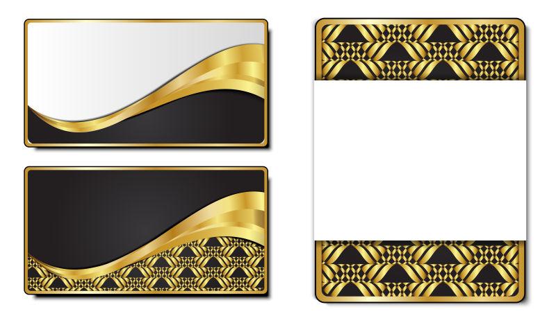 创意矢量金色图形元素的平面卡片