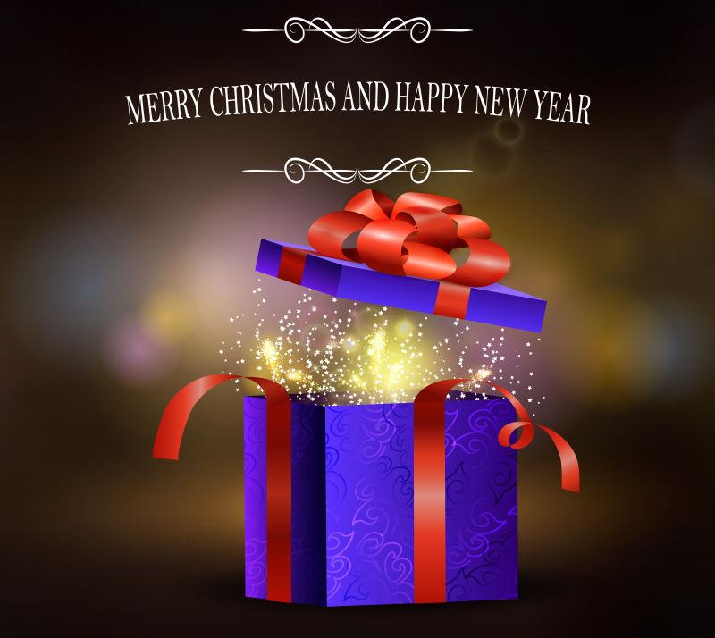 圣诞礼物礼盒内置礼花烟花矢量设计