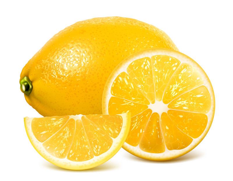 矢量黄色的新鲜柠檬