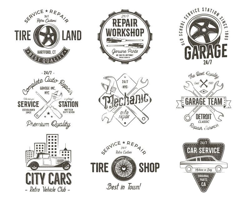创意矢量复古车库修理徽章设计
